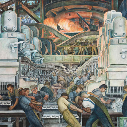 Diego Rivera, Detroit Industry, North Wall Detail, Furnace, 1932-1933