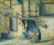 Camille Pissarro - The Kitchen at Piette's, Montfoucault, 1874