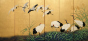 Suzuki Kiitsu - Reeds and Cranes, 19th century