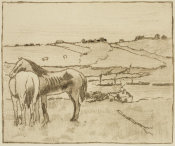 Edgar Degas - Horses in the Meadow, 1891-1892