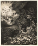 Rembrandt Harmensz van Rijn - The Angel Appearing to the Shepherds, 1634