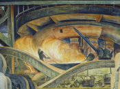 Diego Rivera - Detroit Industry, Blast Furnace and Open Hearth Furnace (North Wall Mural Detail), 1932-1933