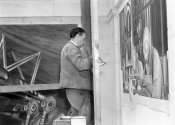 photographer unknown - Diego Rivera at work on the