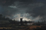 Aert van der Neer - Moonlit Landscape with a Windmill, early to mid 1650s