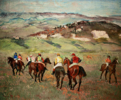 Edgar Degas - Jockeys on Horseback before Distant Hills, 1884