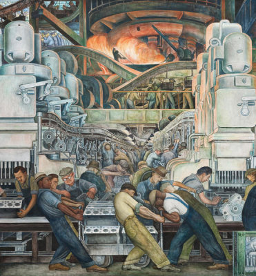 Diego Rivera - Detroit Industry, North Wall Detail, Furnace, 1932-1933