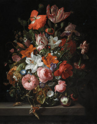 Rachel Ruysch - Flowers in a Glass Vase, 1704
