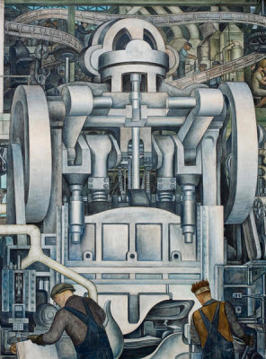 Diego Rivera - Detroit Industry, South Wall Detail (Stamping Machine), 1932-1933