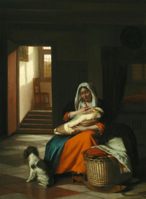 Pieter de Hooch - Mother Nursing Her Child, c. 1674/1676