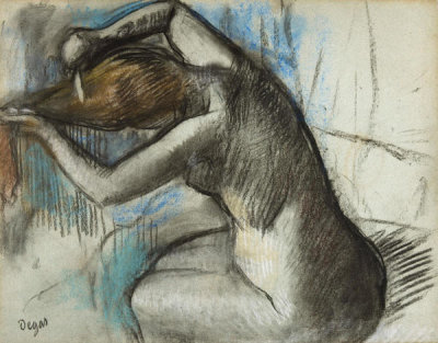 Edgar Degas - Seated Nude Woman Brushing Her Hair, between 1885 and 1908
