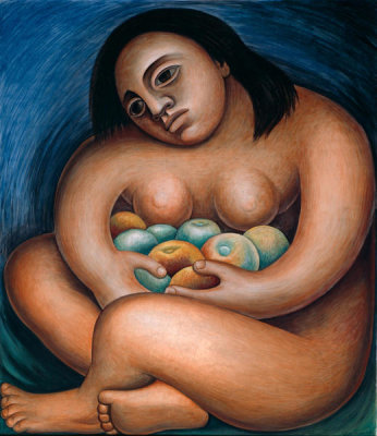 Diego Rivera - Detroit Industry, Woman Holding Fruit (East Wall Panel Right), 1932-1933