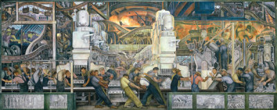 Diego Rivera - Detroit Industry, Manufacture of Engine and Transmission (North Wall Largest Panel)