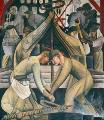 Diego Rivera - Detroit Industry, Commercial Chemical Operations (South Wall Supporting Panel), 1932-1933
