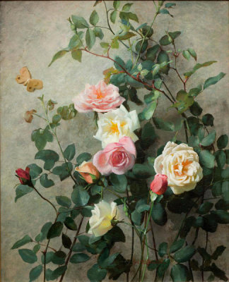 George Cochran Lambdin - Roses on a Wall, 1877