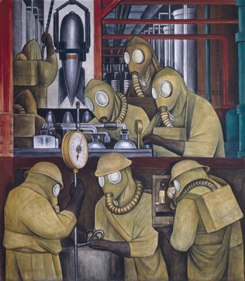 Diego Rivera - Detroit Industry, Manufacture of Poisonous Gas Bombs (North Wall Supporting Panel), 1932-1933