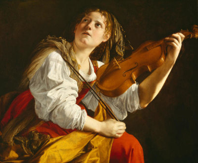 Orazio Gentileschi - Young Woman with a Violin (Saint Cecilia), ca. 1612