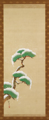 Sakai Hoitsu - Triptych of the Seasons: Snow Clad Pine, early 19th century